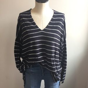 Ann Taylor Navy Stripe Easy Vneck Sweater